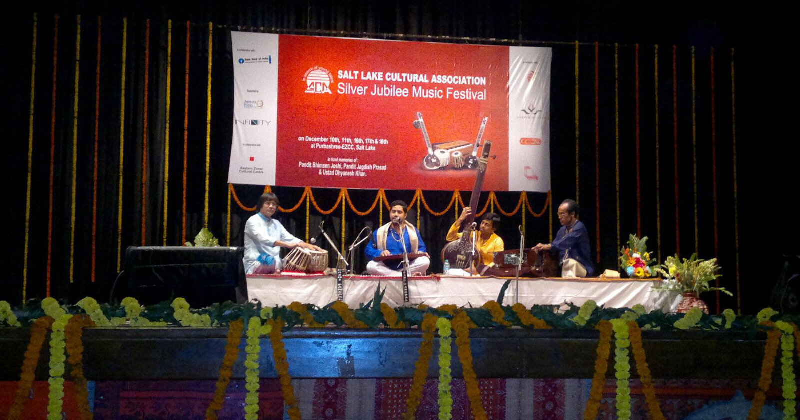 Picture of the stage at Salt Lake conference with the 4 musicians performing