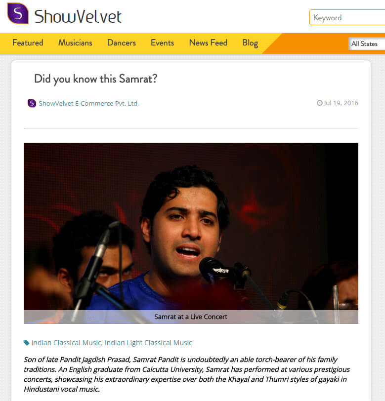 screenshot of showvelvet website