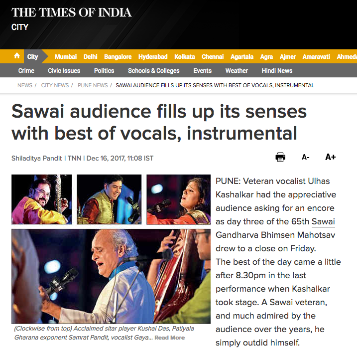 Times Of India 2017 - Sawai audience fills up it