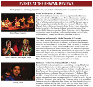 Press review of Samrat Pandit s performance at festival The Bhavan 2015 in London, in the newspaper Bhavan s Journal