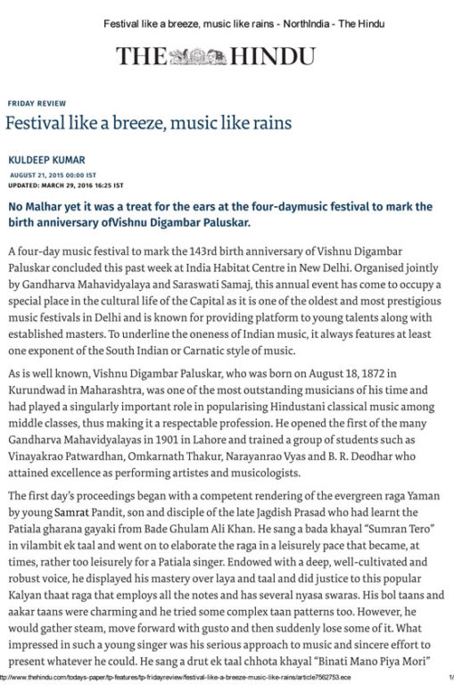 The Hindu 2015 - Festival like a breeze, music like rains