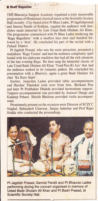The Hitavada times - Concert in memory of Ustad Bade Ghulam Ali Khan and Pt Badri Prasad in Nagpur
