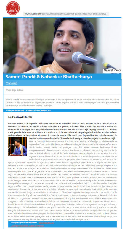 Press review of Samrat Pandit s performance at festival Mehfil France in 2018, in the newspaper Journal Le Ventilo