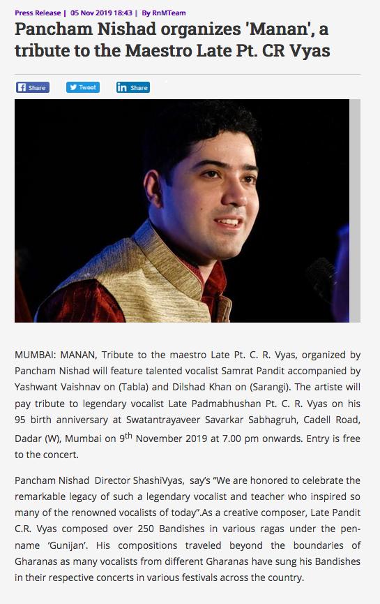 Press review of Samrat Pandit in radioandmusic website in november 2019